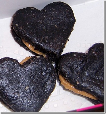 Heart Shaped Hot Chocolate fudge babies in Peanut Butter Sandwich form
